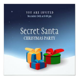 """Secret Santa Party invitation 5.25"""" Square Invitation Card"""