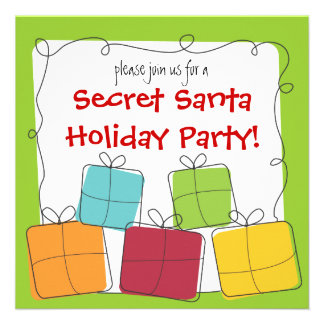 Secret Santa Retro Gift Holiday Party Invitation