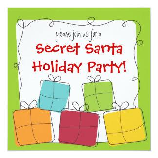 """Secret Santa Retro Gift Holiday Party Invitation 5.25"""" Square Invitation Card"""