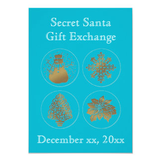 Secret Santa Teal Turquoise Gold Seals Invitations