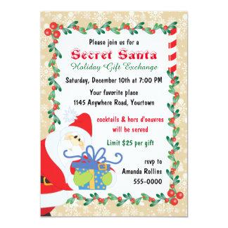 "Secret Santa with Present 5"" X 7"" Invitation Card"