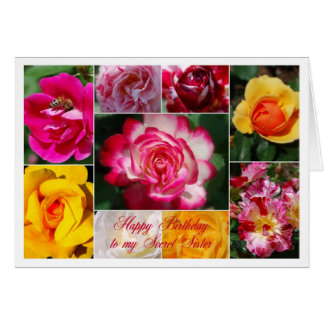 Secret Sister Happy Birthday Rose Collage Yellow Cards
