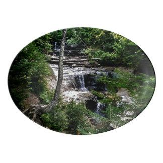 Secret waterfall porcelain serving platter