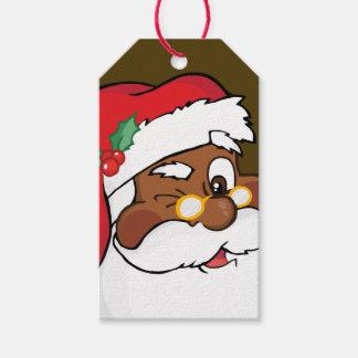 Secret Winking Black Santa Claus Paper Gift Tag