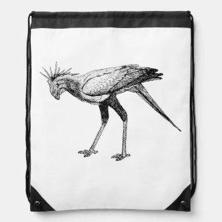 Secretary Bird Art Drawstring Bags