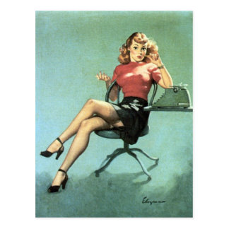 Secretary Pin Up Postcard