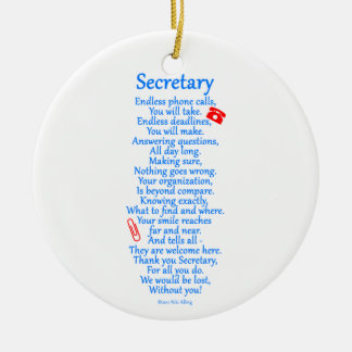 Secretary  Thank You Ceramic Ornament