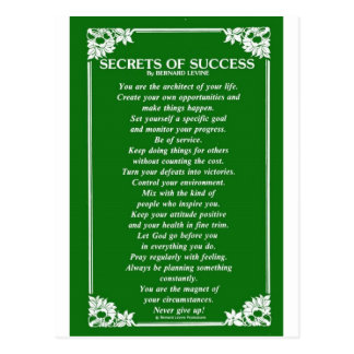 SECRETS OF SUCCESS By BERNARD LEVINE Postcard