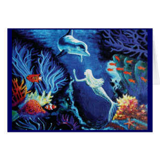 Secrets Of The Coral Reef - Mermaid & Dolphin Card