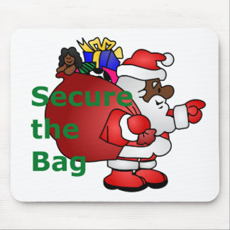 secure the bag black santa mouse pad