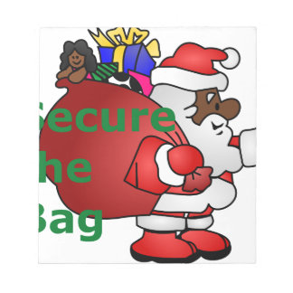 secure the bag black santa notepad