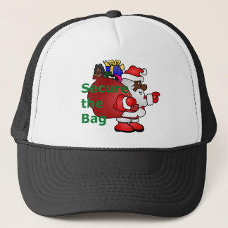 secure the bag black santa trucker hat