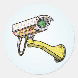 Security Camera Multi Coloured Round Sticker