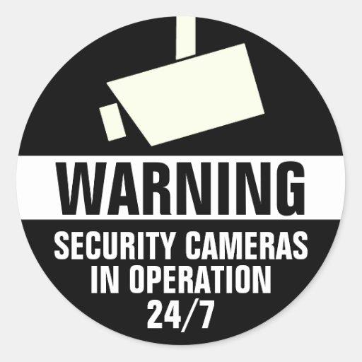 Security Camera Round Warning Sticker