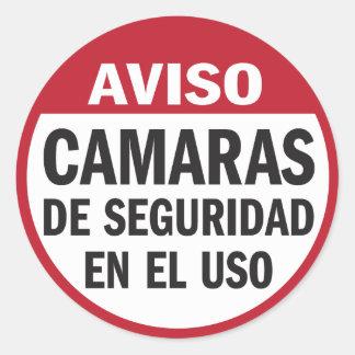 Security Cameras in Use Aviso in Spanish Classic Round Sticker