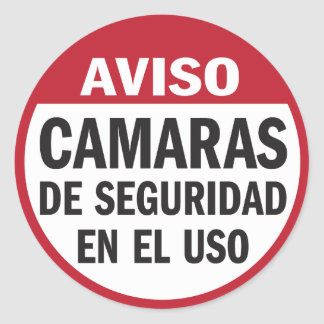 Security Cameras in Use Aviso in Spanish Round Sticker