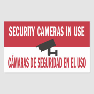 Security Cameras in Use Bilingual Spanish English Sticker