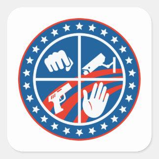 Security CCTV Camera Gun Fist Hand Circle Stickers