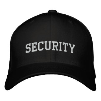 Security  embroidered in white on black cap hat embroidered baseball caps