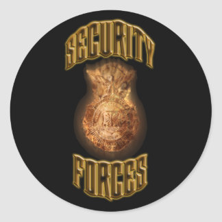 Security Forces Flame Shield Round Sticker