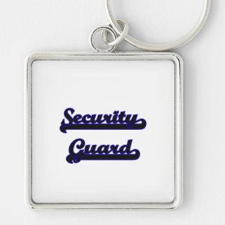 Security Guard Classic Job Design Silver-Colored Square Keychain