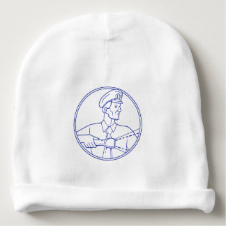 Security Guard Flashlight Circle Mono Line Baby Beanie