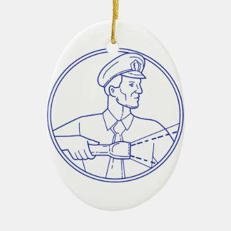 Security Guard Flashlight Circle Mono Line Ceramic Ornament