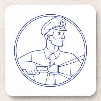 Security Guard Flashlight Circle Mono Line Coaster