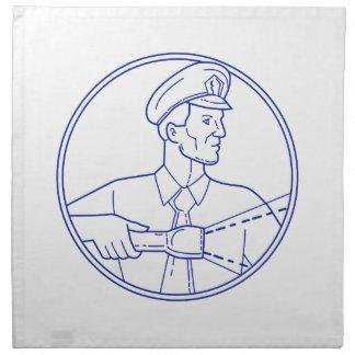 Security Guard Flashlight Circle Mono Line Napkin