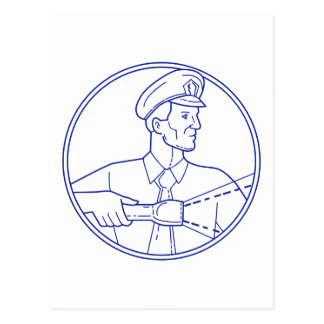 Security Guard Flashlight Circle Mono Line Postcard