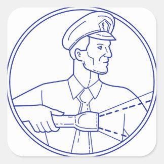 Security Guard Flashlight Circle Mono Line Square Sticker