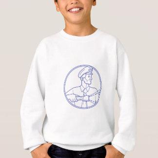Security Guard Flashlight Circle Mono Line Sweatshirt