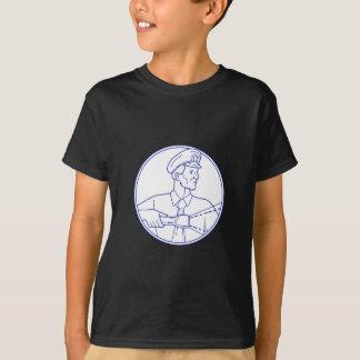 Security Guard Flashlight Circle Mono Line T-Shirt