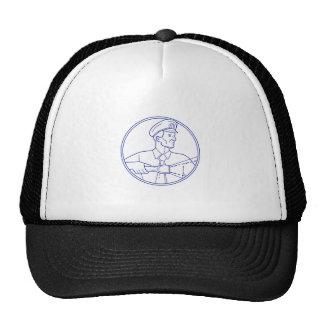 Security Guard Flashlight Circle Mono Line Trucker Hat