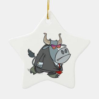 security guard tough bull cartoon ceramic ornament