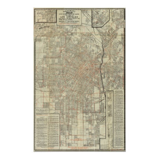 Security map and Street Railways in Los Angeles Poster