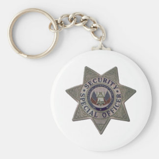 Security Special Officer Silver Basic Round Button Keychain