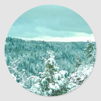 Sedona Mountain landscape winter Classic Round Sticker