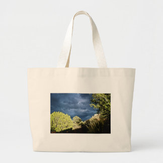 Sedona stormy skies large tote bag