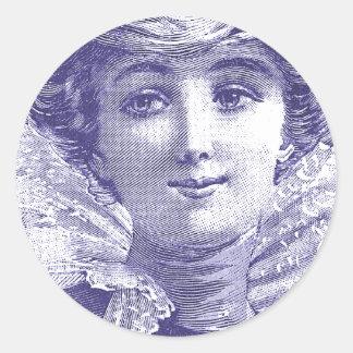 Seductive Victorian Diva - French Fashion Plate Classic Round Sticker