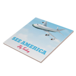 See America - Fly today! Tile