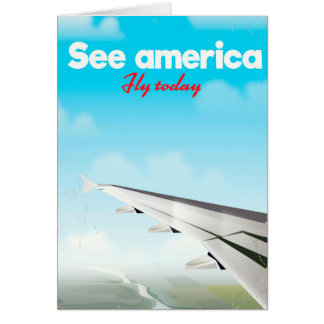 "See America ""fly today"" vintage vacation print. Card"
