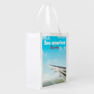 """See America """"fly today"""" vintage vacation print. Reusable Grocery Bag"""