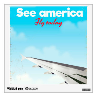 """See America """"fly today"""" vintage vacation print. Wall Sticker"""
