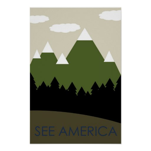See America - Mountains Poster