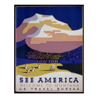 See America Welcome to Montana Vintage Poster