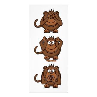 See Hear Speak No Evil Monkeys Full Color Rack Card