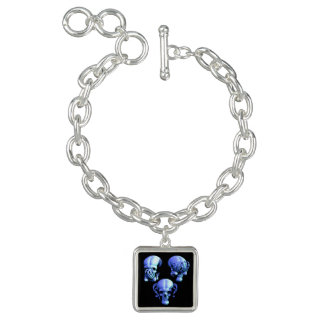 See Hear Speak No Evil Skulls Charm Bracelet