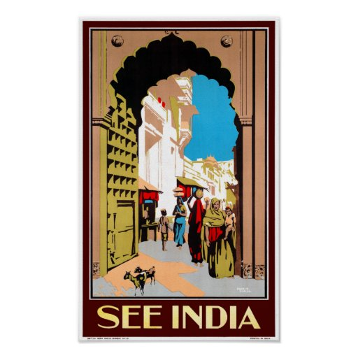 See India Vintage Travel Poster Restored