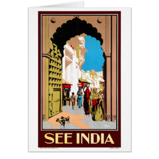 See India Vintage Travel Poster Restored Card